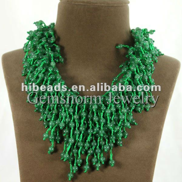 Superb Green Jade Strands Necklace Knotted Natural Jades Gemstone Cluster Bib Necklaces GS007