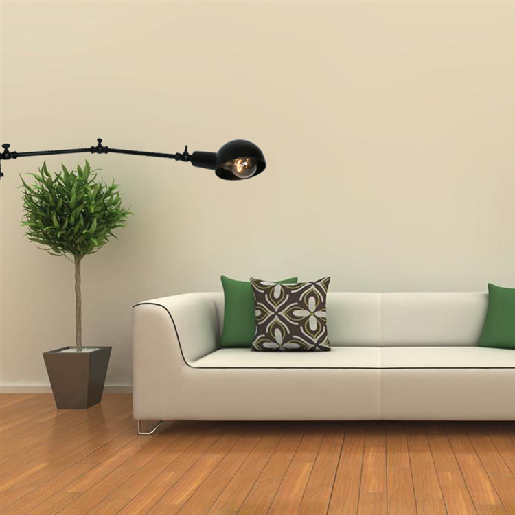 Country Style fancy black swing arm metal wall bracket light fitting for living room