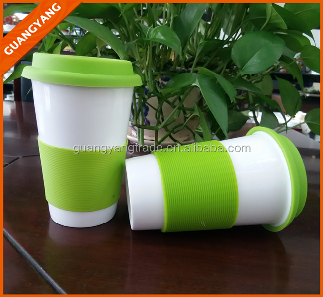 16OZ New design green double walled ceramic travel mug with LOGO