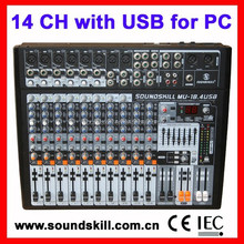14 channel Professional Audio Mixer with USB interface, 4 band Channel EQ, 7 band graphic equalizer