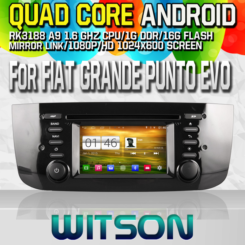 Witson S160 Android 4.4 Car DVD GPS For FIAT GRANDE PUNTO EVO (2009- with Quad Core Rockchip 3188 1080P 16g ROM WiFi 3G Internet