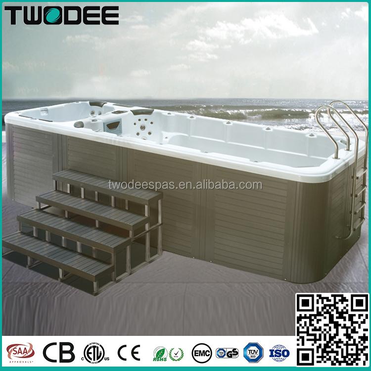 Outdoor freestanding acrylic balboa system whirlpool massage endless pool dual zone large swim spa
