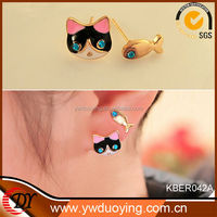 Cat Eye crystal Wholesale Jewelry Fish And Cat Earring