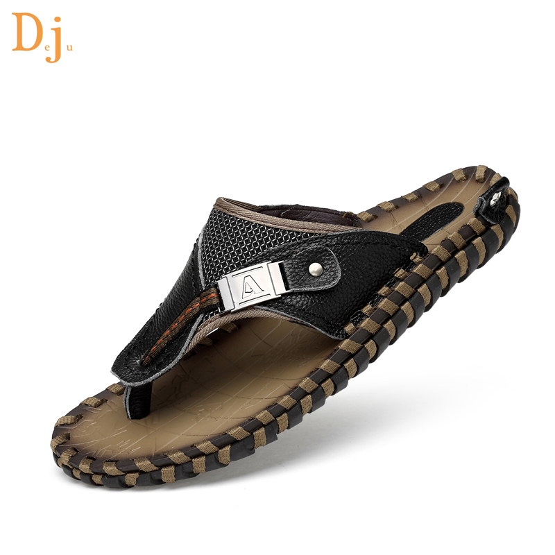 2018 hot sale Plus Size Genuine Leather Beach Shoes slippers for men