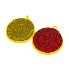 High density sponge wrapped PET polyester fabric multipurpose cleaning round kitchen sponge