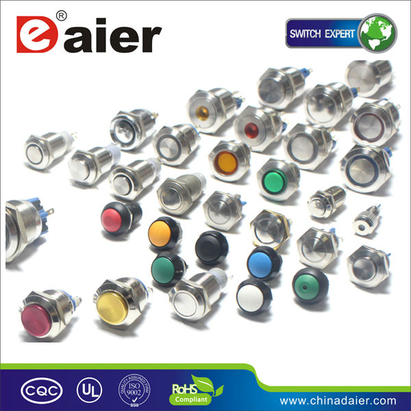 Daier Industrial Switch Waterproof metal 6 pin push button normally close