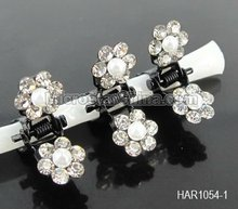 9 Colors 8mm Mini Faux Pearl Flower Crystal Hair Clamp Clips