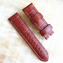 High quality alligator grain 22mm leather cuff watch band brown
