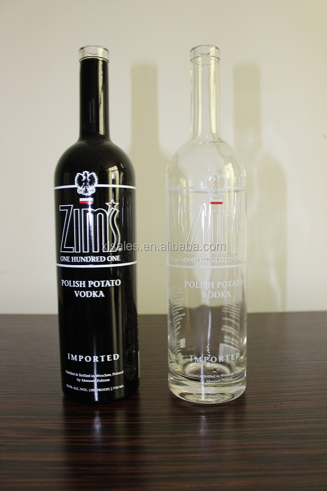 750ML WHITE AND BLACK ROUND GLASS VODKA BOTTLE FOR SALE