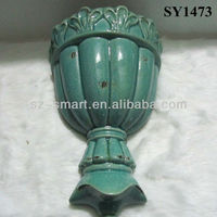 "13"" on wall antique glazed ceramic vases"