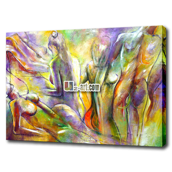 Modern stretched canvas painting of nude girls pictures sexy