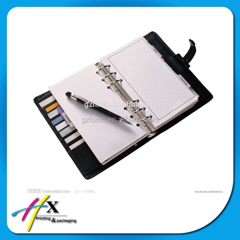 Custom printing soft PU leather business agenda notebook with pen