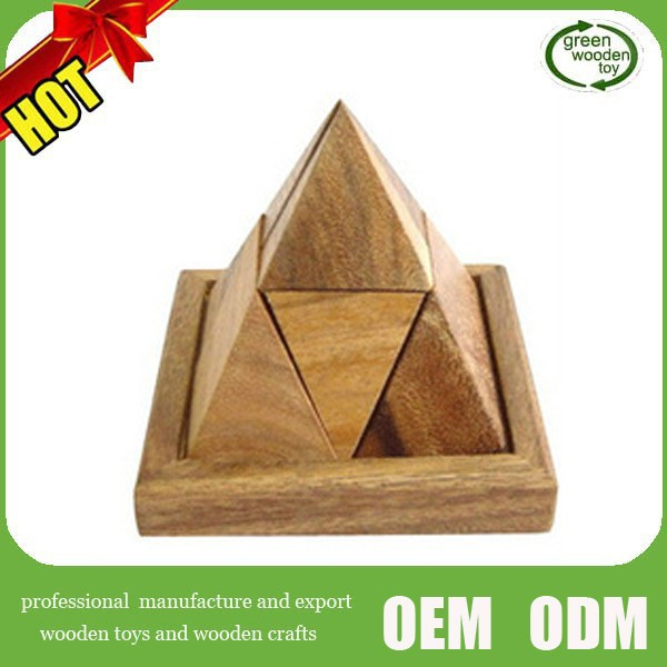 2015 Top wooden pyramid,wooden Triangle pyramid ,wood pyramid puzzle