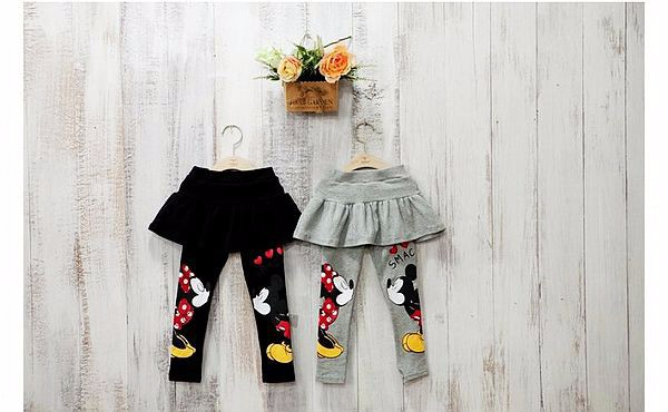 2017 autumn new girl cotton print Minnie dress pants