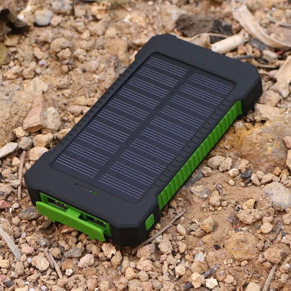 Wholesale 10000mah Dual USB LED light Waterproof Solar Power Bank Compass SOS Solar Battery Charger powerbank for mobile phones
