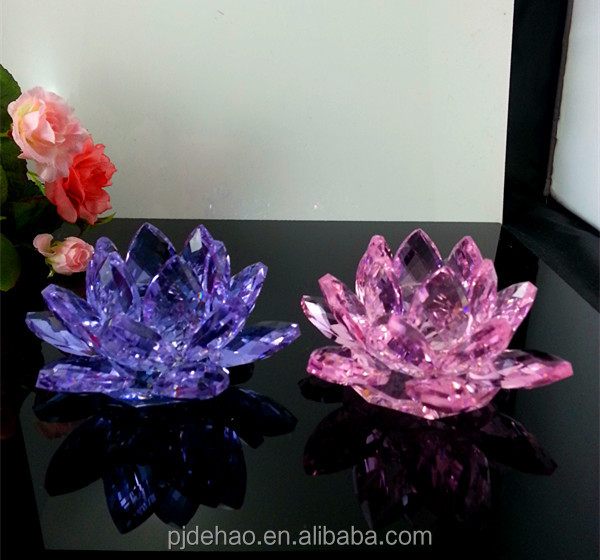 Clear Christmas Decoration Glass Crystal Lotus Flower