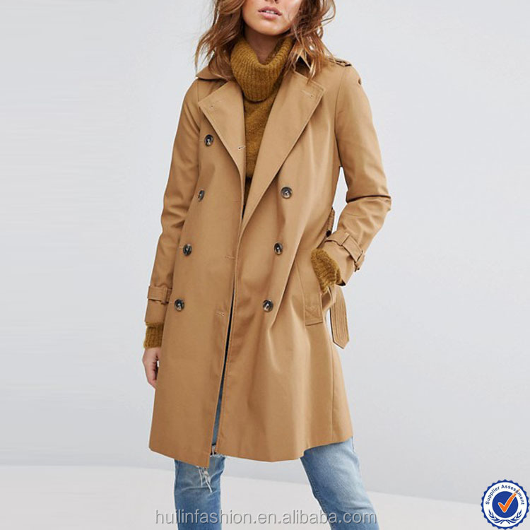 women clothing 2017 canvas long jacket with belt wholesale notch collar khaki trench coat