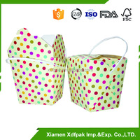 disposable take away noodle box,paper noodle box with plastic handle,