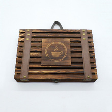 Customized Size Finished Roast Color Wood Coffee Bean Packing Box with Handle