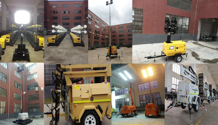 Solar light tower solar trailer optional backup diesel generator manual winch hydraulic or pneumatic mast pole 7m~12m DC or AC