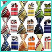 Custom High Quality Pocket Square and Cufflink Necktie Set Plaid Tie Set