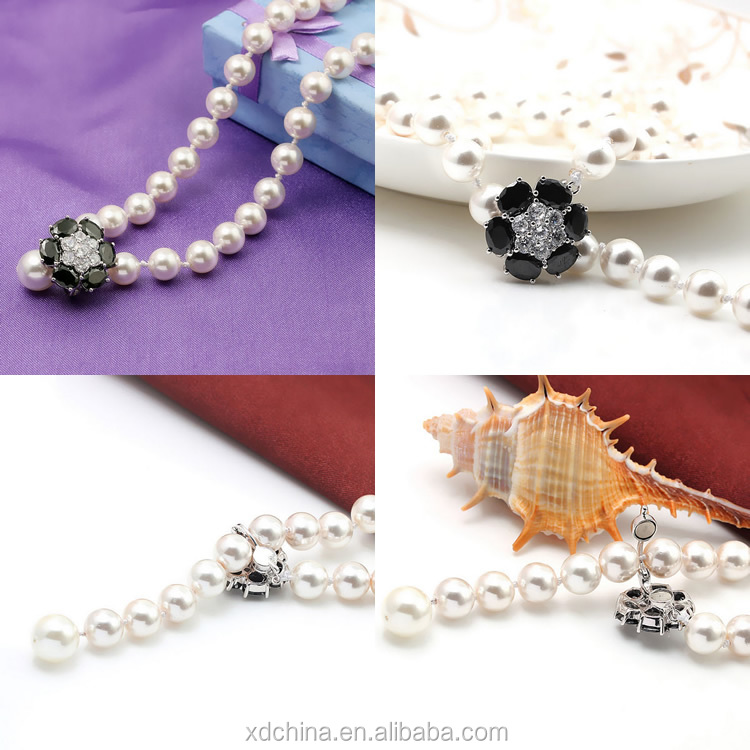 XD YSIP0455 the beautiful 925 silver pave cz magnetic clasp long pearl necklace