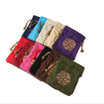 In STOCK Linen or Suede drawstring jewelry pouch