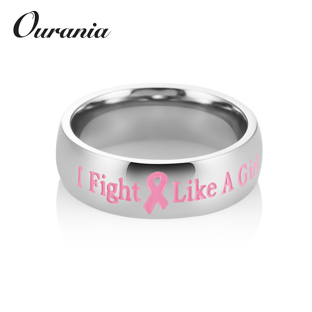Personalized Jewerly Womens Stainless Steel Pink Ribbon Breast Cancer Awareness Ring Flight Like a Girl Rings for Women