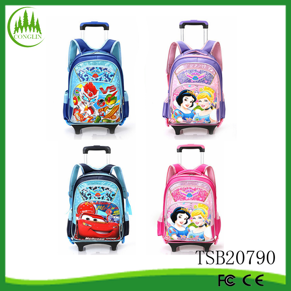 2015 New Product Polyester Kids Child Cartoon Trolley School Bag Backpack Rucksack