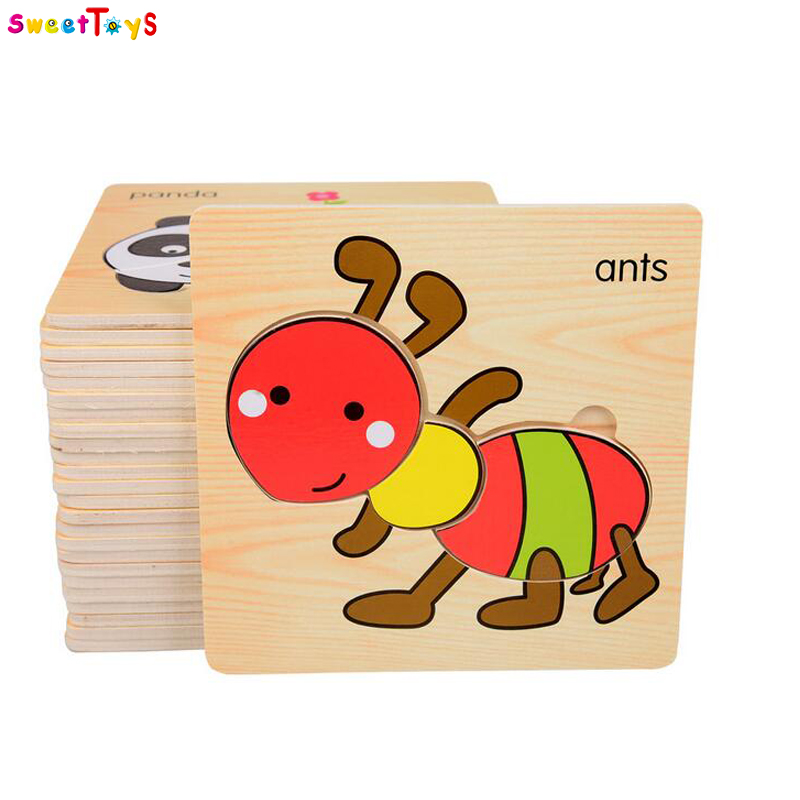 Wooden Animal Puzzles Educational Toys for Kids Jigsaw Puzzles Wooden Toy Intelligence learning Toys for Kids Baby Children