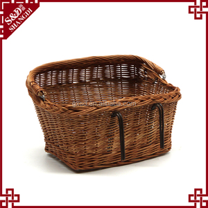Easy to install large wicker woven front decorative bicycle basket