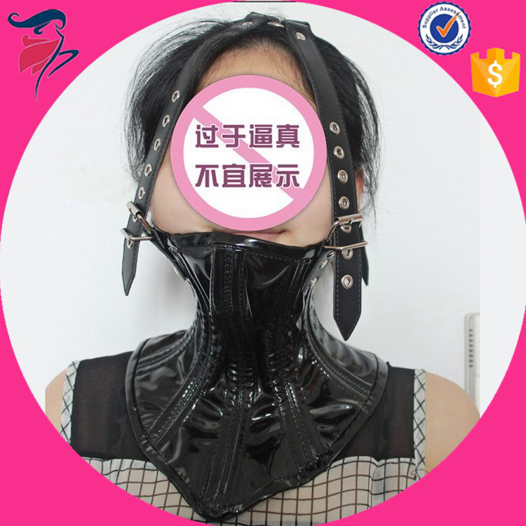 Full Neck Scarf Bondage Leather Sexy Nice Neck Collar with Face Mask Hood Restraint