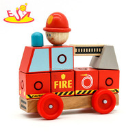 Wholesale red creative mini wooden cart toy bring fun for toddler W04A348