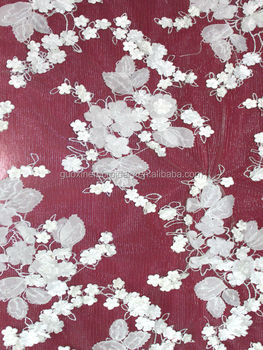 2014 elegant embroidery lace fabric with applique flowers