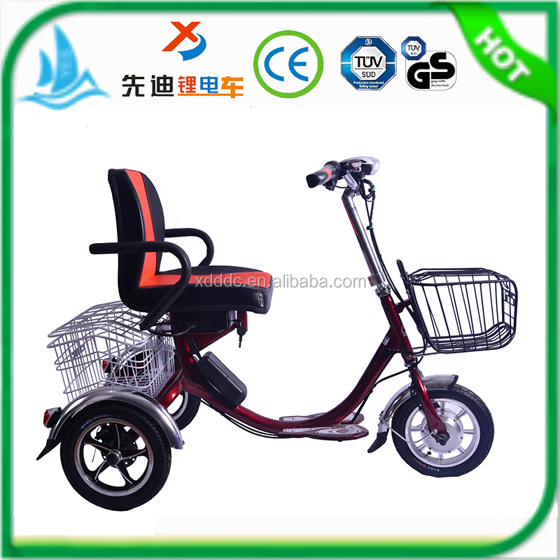 2016 new safe design 12 inch 36V electric bike 3 wheel for adults, electric tricycl from china