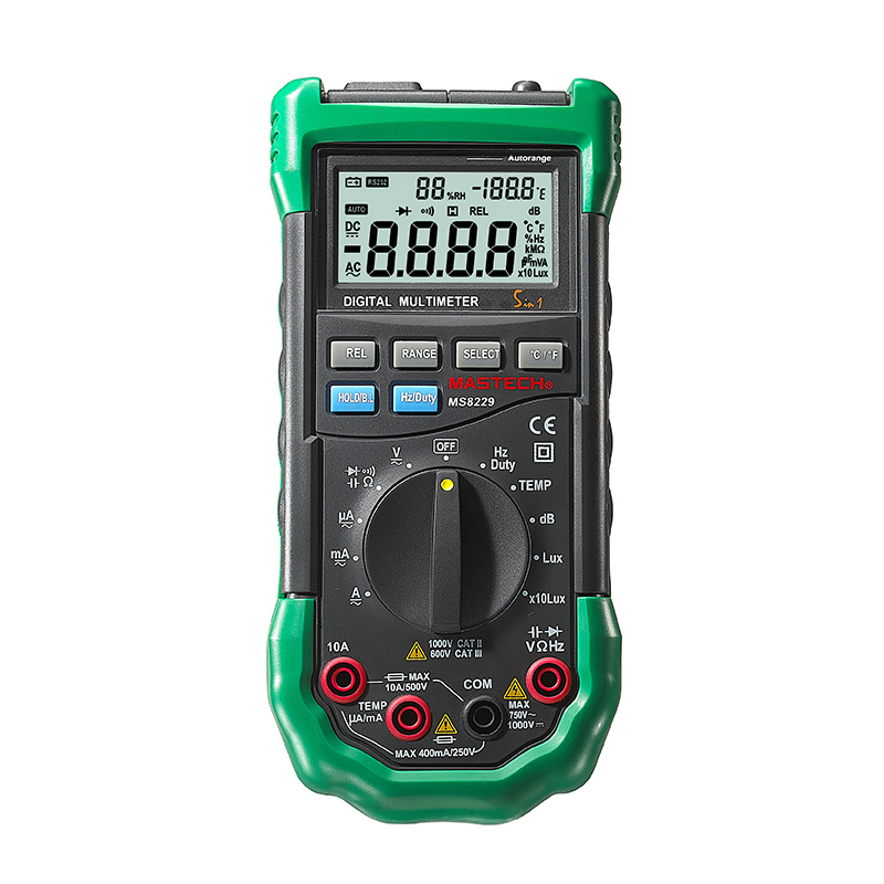 Mastech MS8229 5-in-1 Digital Multimeter Auto-Ranging Temperature Humidity Noise Illumination Tester Multifunction Tester Meter