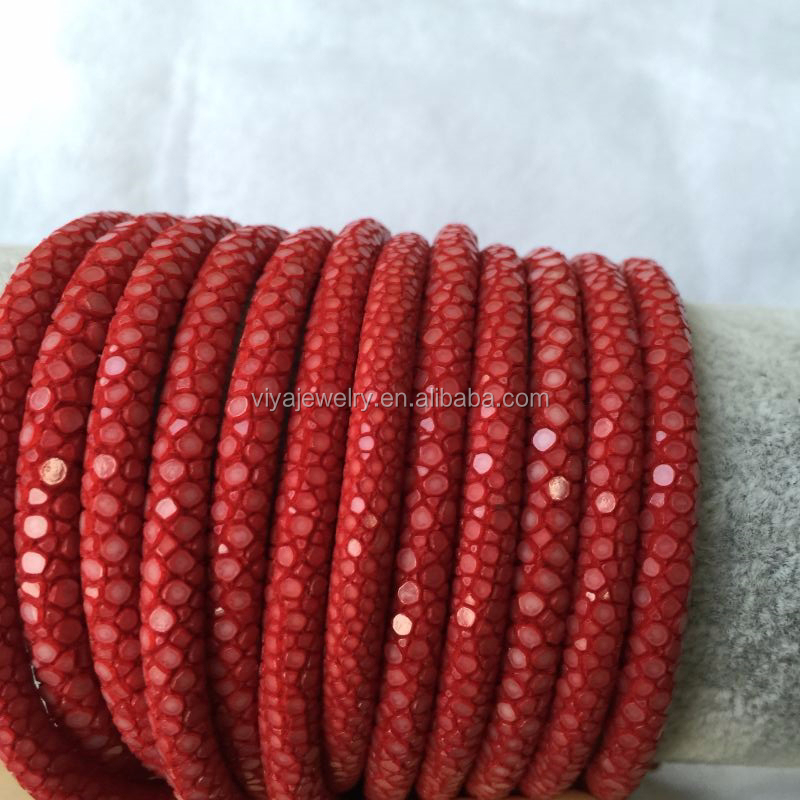 2015 New Arrival 100% Water proof Real Red Black Stingray Skin Round leather cord 7mm