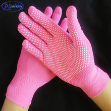 durable fashion pvc dotted pink nylon working gloves for safty construction