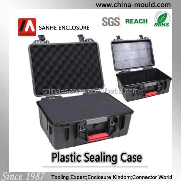 Black hard plastic case with foam