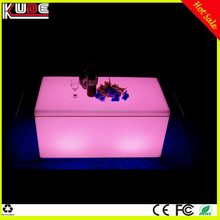 outdoor LED PE hard plastic rectangular table with glass top