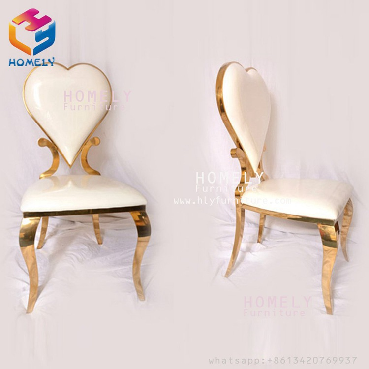 royal back rose gold white leather modern new design hotel party banquet wedding dining chair stainless steel