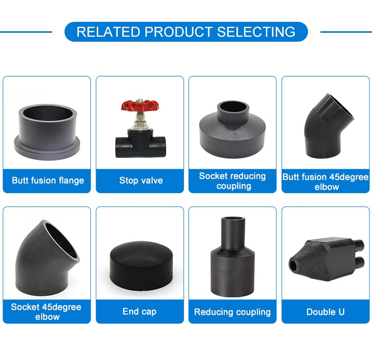 All size pipe fittings HDPE electrofusion 45 degree pipe elbow