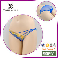 Top Grade Fitness Transparent Blue Embroidered Flower Hot Sex Women Underwear