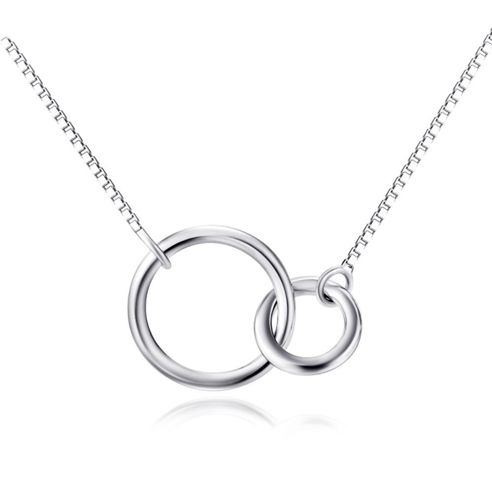 Fine Jewelry 925 Sterling Silver Two-Circle Pendant <strong>Necklace</strong>