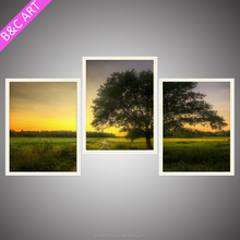 new product natural forest canvas printing 3 panel green tree picture wall art for decoration living room