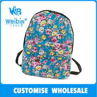 2014 new fashion floral travel durable waterproof canvas dog backpack