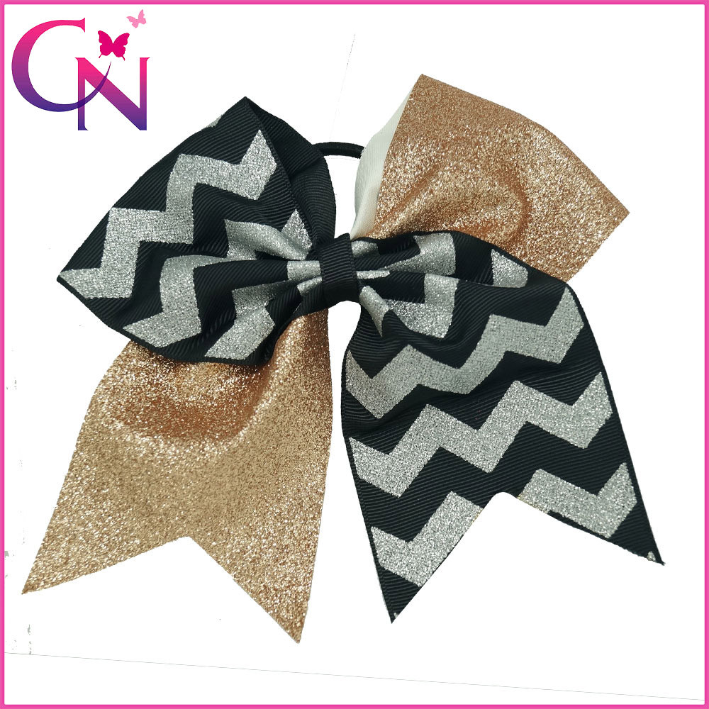 Wholesale Gorgeous Cheerleading Bows, 7 inch Chevron Glitter Cheer Hair Bows with Rubber Band