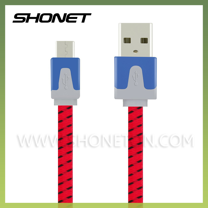 bulk buy from china nylon braided flat noodle micro usb data cord for smart phone