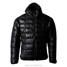 LS782 Wholesale black goose breathable light weight soft men's zipper down jacket