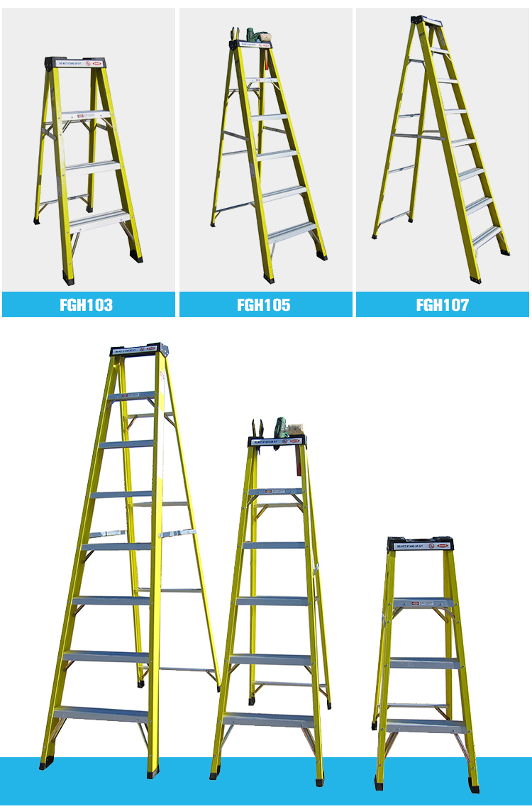 New coming multi-purpose fiberglass stair ladder platform step ladder